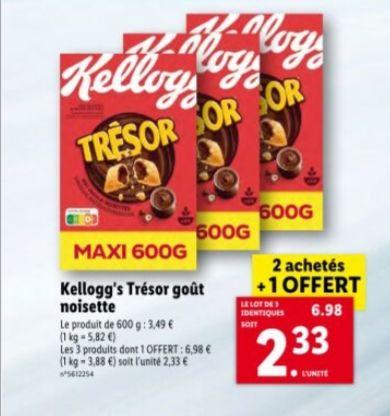 Lot de 3 paquets de céréales Kellogg's Trésor 600g