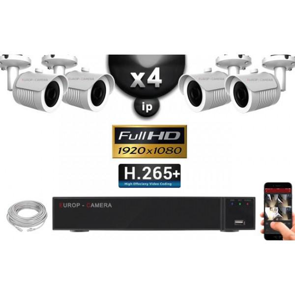 Kit Vidéo Surveillance Pro IP : 4 Caméras POE (Tubes IR, 30m, Sony 1080P) + Enregistreur NVR 9 canaux (H265 + HDD 2 To) - europ-camera.fr