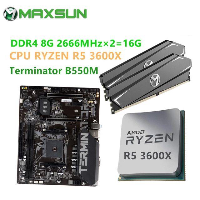 Carte mère Combo Terminator B550M + Kit RAM - 16 Go (2 x 8 Go) DDR4, 2666MHz + Processeur Ryzen R5 3600X