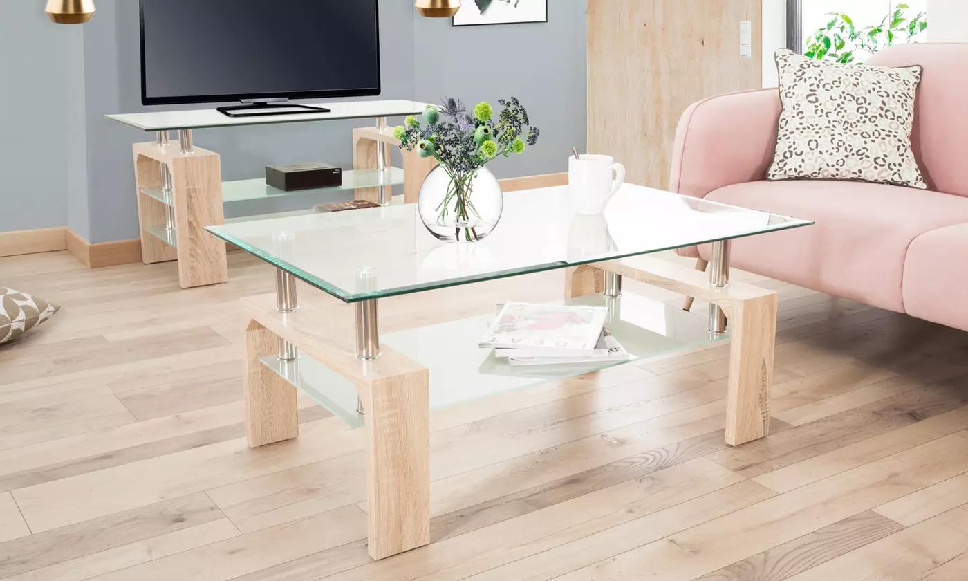 Table basse avec plateaux en verre Anja (Plusieurs coloris)