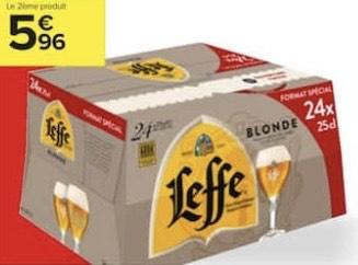 Lot de 2 packs de 24 bières blondes Leffe - 48 x 25 cl