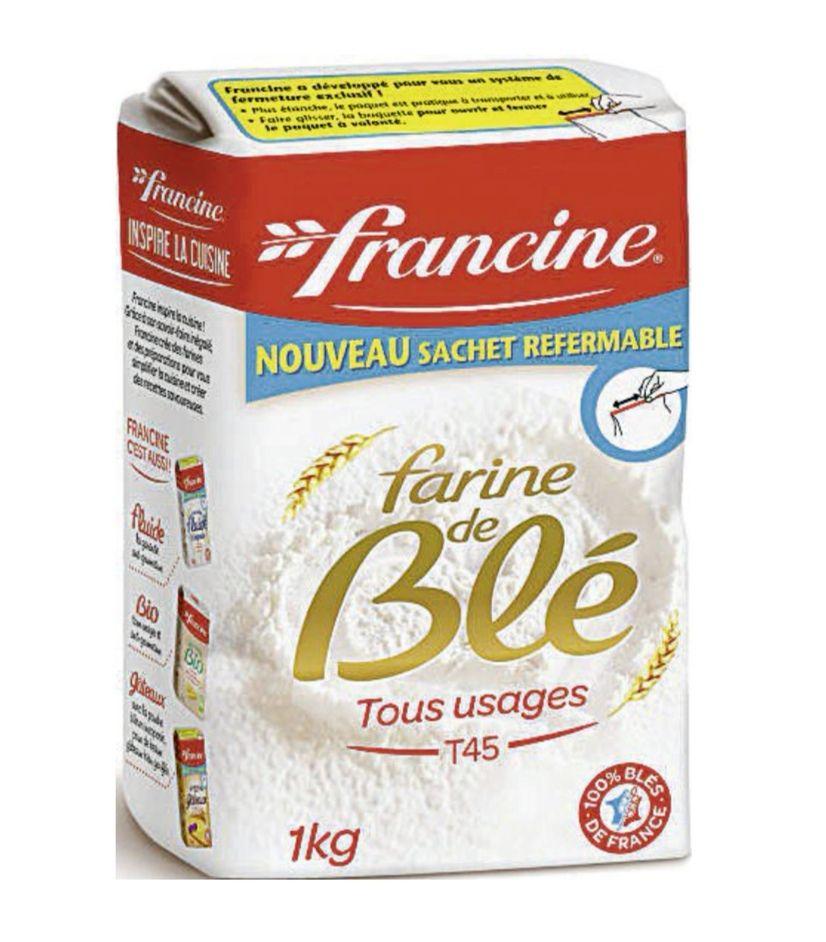Lot de 2 paquets de 1 kg de farine de blé Francine T45 tous usages (2 x 1 kg)