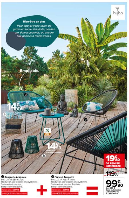 Salon de jardin Acapulco : banquette et 2 fauteuils (Plusieurs coloris)