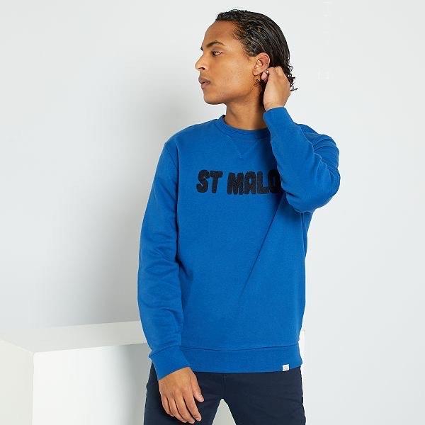 Sweat imprimé St Malo pour Homme - Bleu, Taille au choix