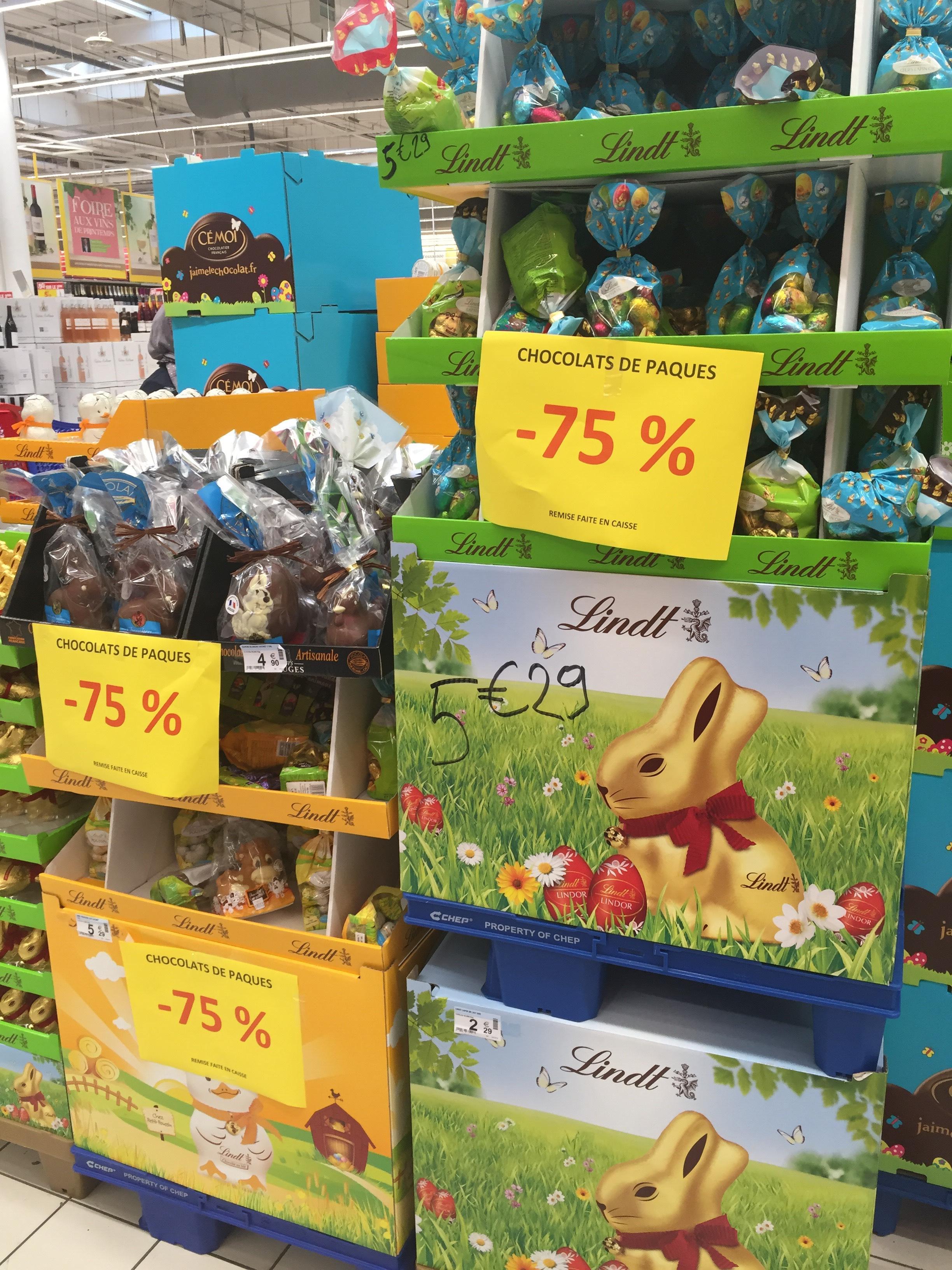 -75% sur tous les chocolats de Pâques