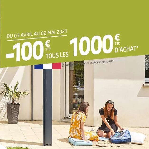 100€ de réductions tous les 1000€ d'achat dans une sélection d'espaces conseil participants (Sous conditions) - verandarideau.com