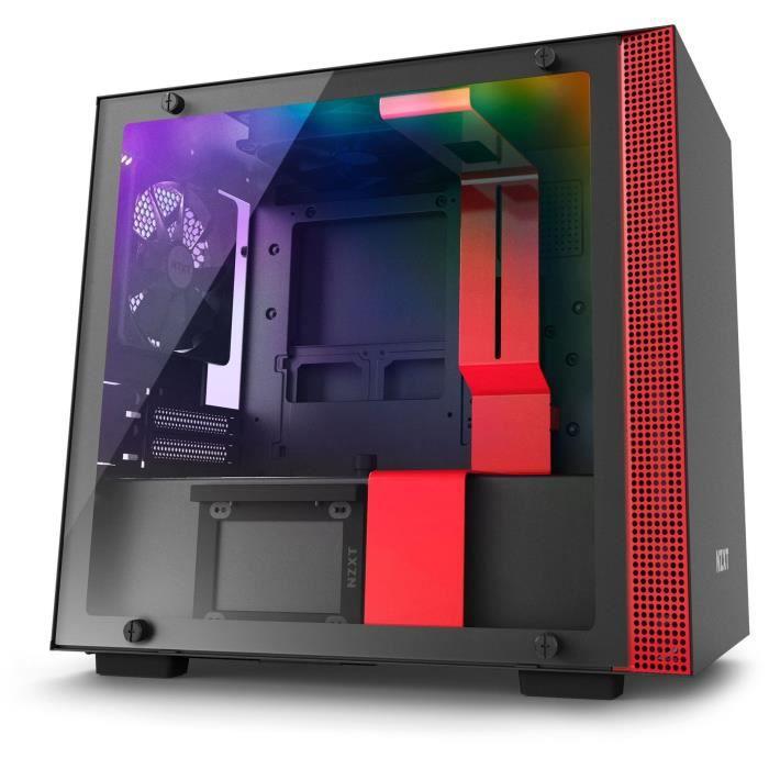 Boîtier PC Mini ITX NZXT H200i -Mini ITX, Rétroéclairage RGB, Noir / Rouge, Verre trempé