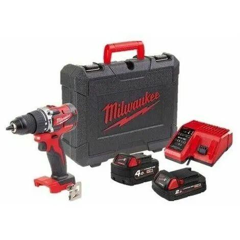 Perceuse-visseuse à percussion compacte Milwaukee M18 CBLPD-422C + 2 batteries (4Ah & 2Ah) + Chargeur rapide + Coffret