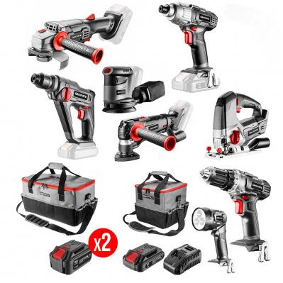 Pack de 8 machines Graphite - 2 batteries Li-Ion 4Ah + 1 Li-Ion 2Ah + Chargeur + 2 sacs porte-outils