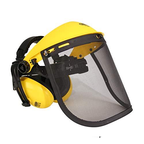 Visière de protection avec écran grillagé + oreillettes OREGON