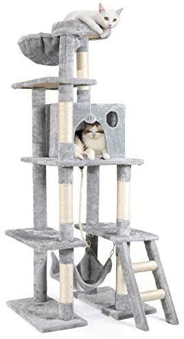 Arbre à chat 5 niveaux rabbitgoo - 155 cm, Gris (Vendeur Tiers)