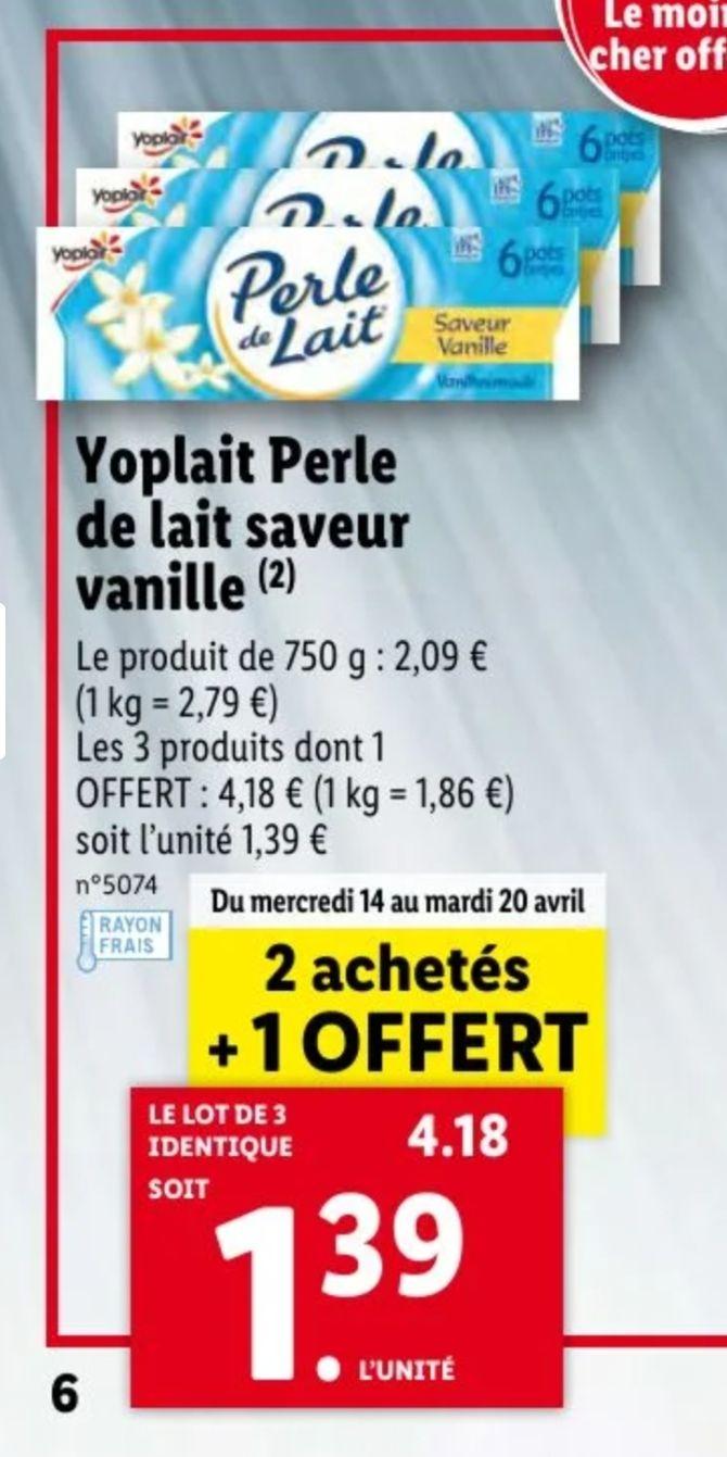 Lot de 3 paquets de 6 pots de Yoplait Perle de Lait - diverses variétés - 3 x 750g