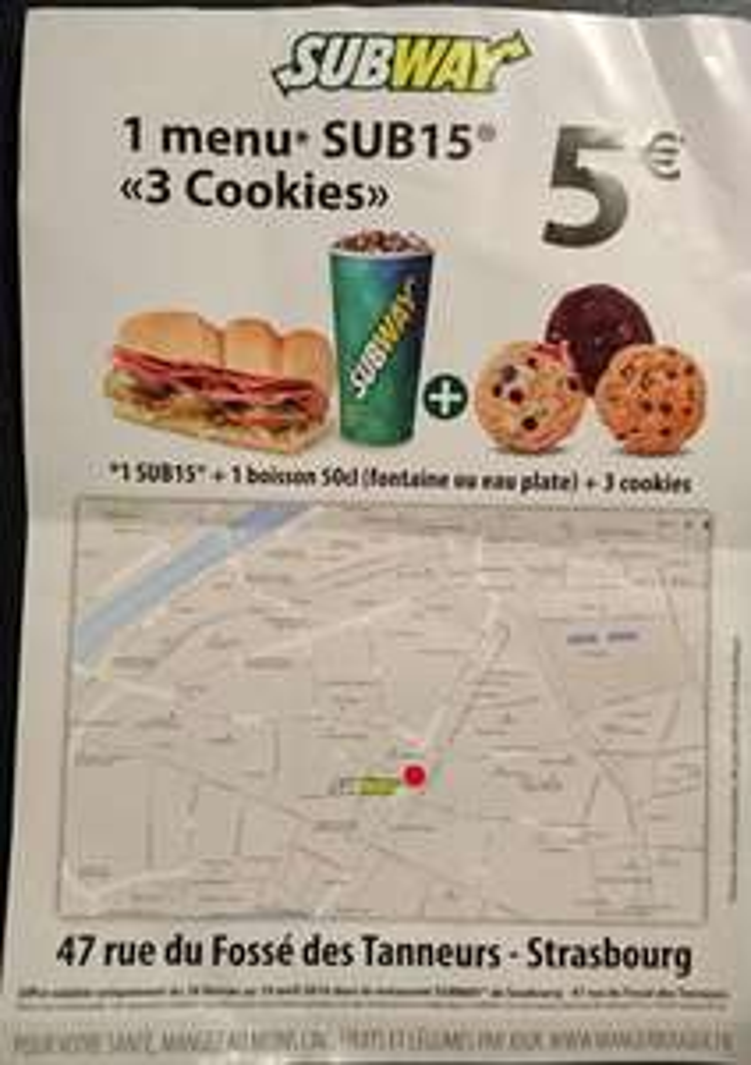 Menu Sub 15 : 1 Sub 15 + 1 boisson 50 cl + 3 cookies
