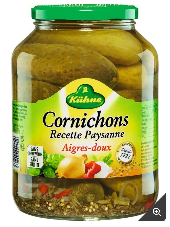 Bocal de cornichons aigres-doux KUHNE - 850g