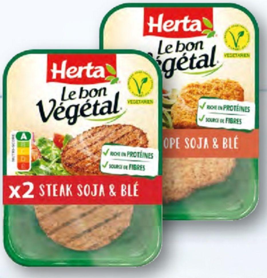 Lot de 2 pack de steaks soja Herta Le Bon Végétal