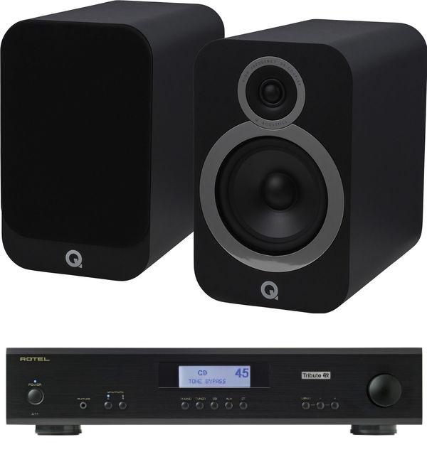 Pack Enceintes Bibliothèques & Amplificateur : Q Acoustics 3030i + Rotel A11 Tribute - Noir