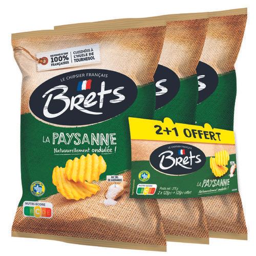 Lot de 3 paquets de Chips Bret's (La Paysanne ou À l'ancienne, 3x 125g)