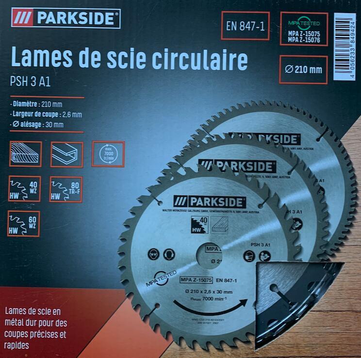 Lot de 3 lames de scie circulaire ParkSide (différents types) - Saint-Vigor-le-Grand (14)