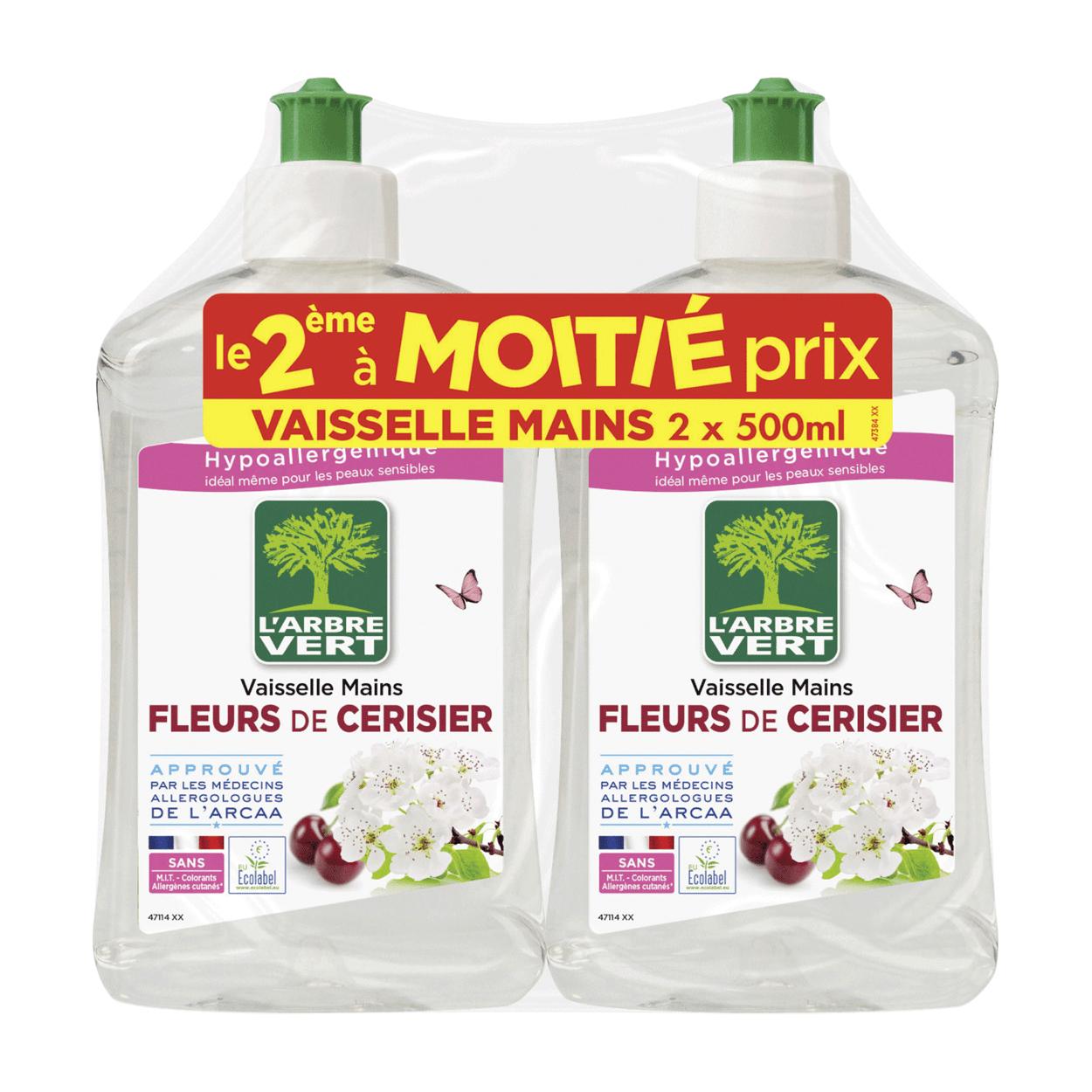 """Lot de 2 bouteilles de liquide vaisselle hypoallergénique L'Arbre Vert """"Fleurs de cerisier"""" (2x 500ml)"""