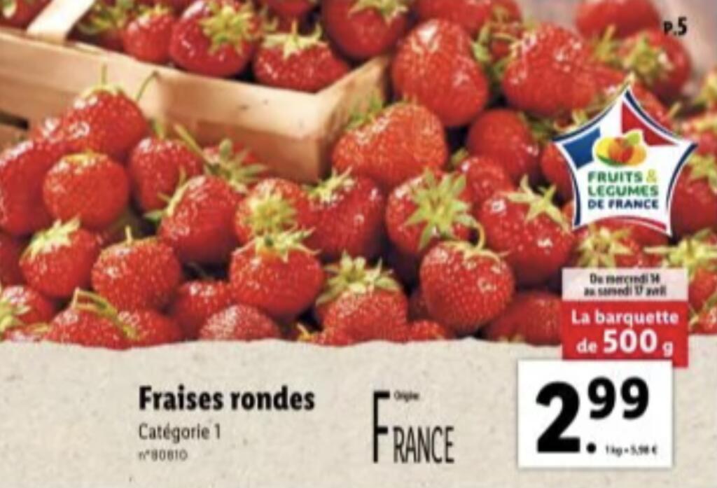 Barquette de fraises rondes - catégorie 1, origine France, 500g