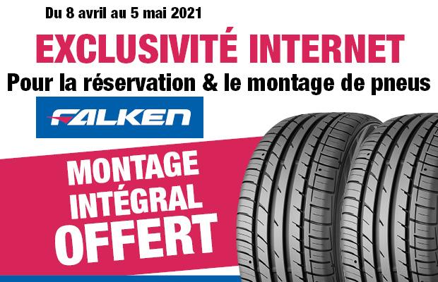 Montage offert sur les pneus Falken (via réservation) - Ex : Pneu Falken Ziex ZE310 235/45 R17 + Montage (autobacs.fr)