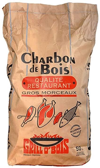 Lot de 3 Sacs de Charbon de Bois Qualité Restaurant Grill O' Bois - Gros Morceaux (3x 50L)