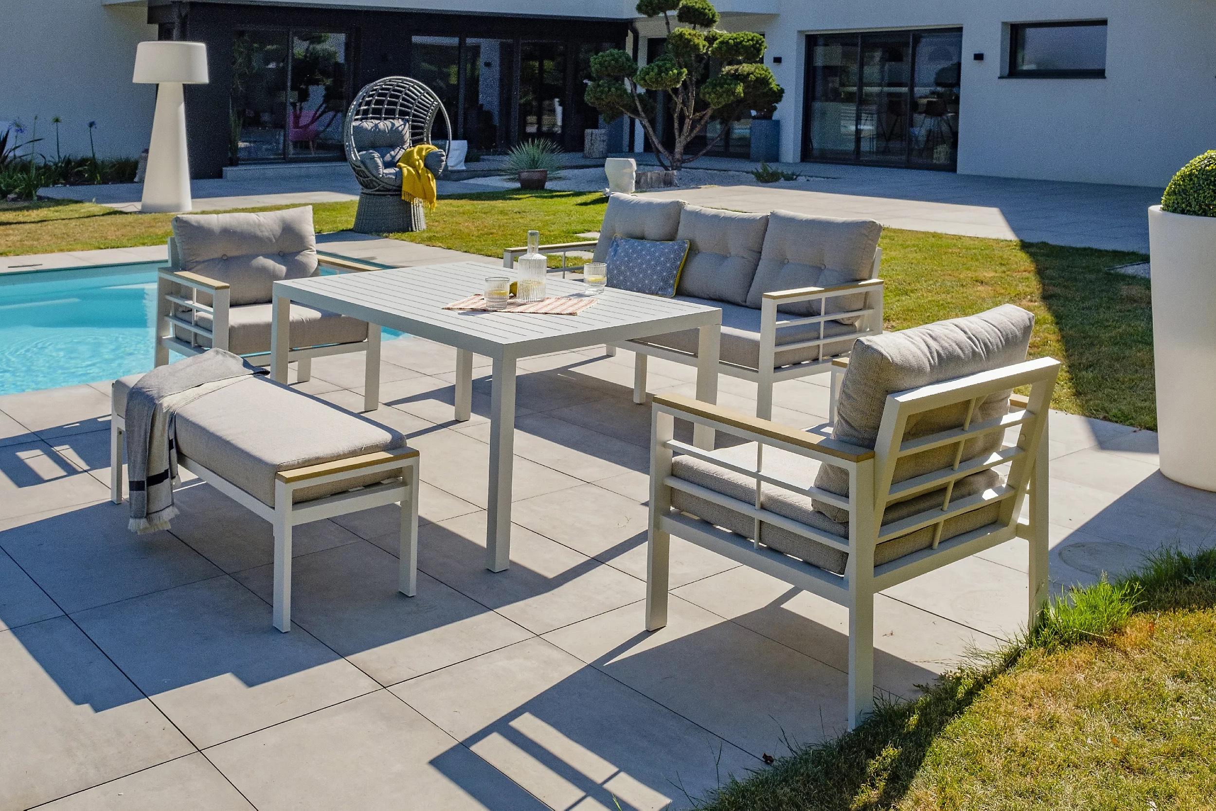 Salon de jardin bas Cayenne DCB Garden - 7 personnes, Aluminium blanc