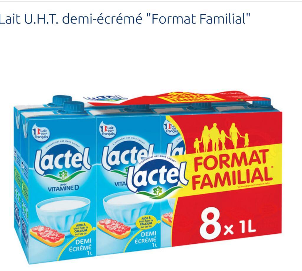 Lot de 2 packs de bouteilles de lait Lactel - 16 x 1l