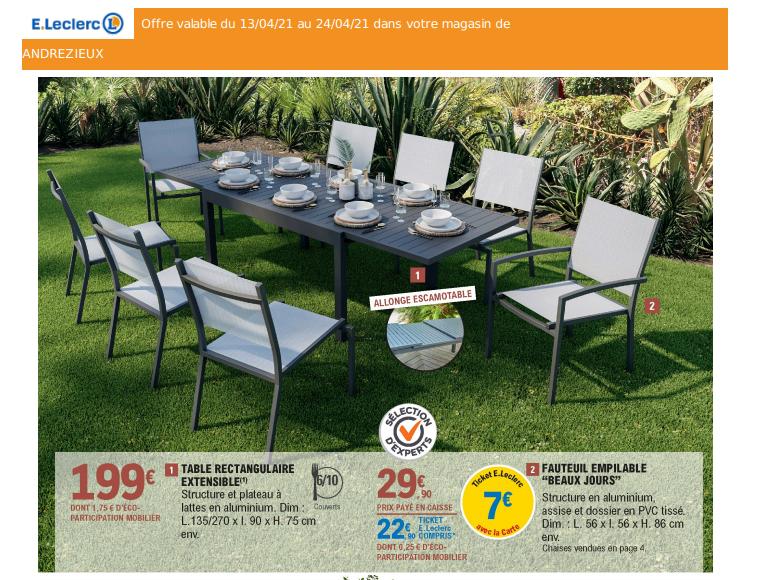Table rectangulaire extensible en aluminium - 135/270 x 90 x 75 cm