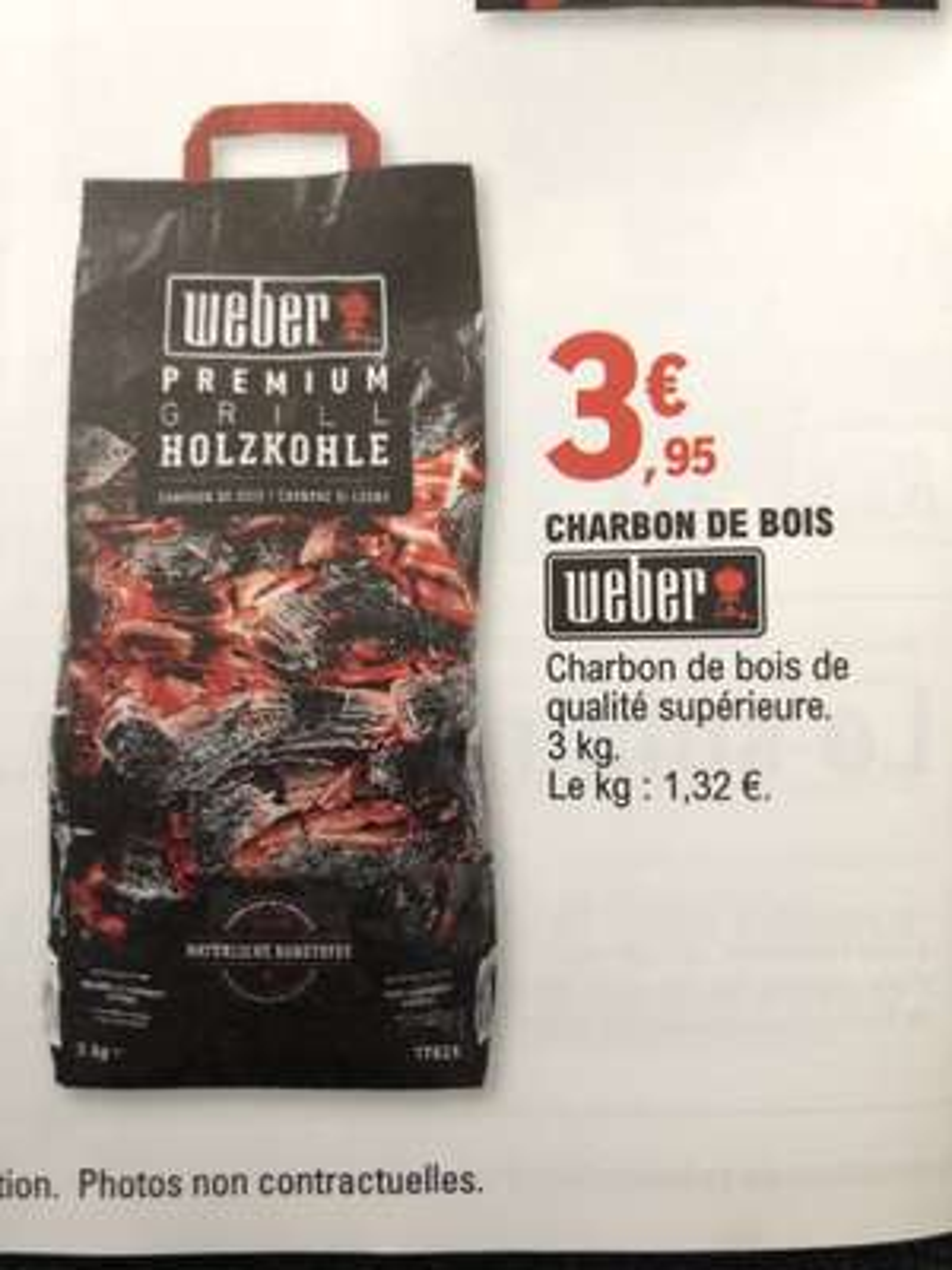 Sac de Charbon de bois Weber 3 kg - Jardi Geispolsheim (67)