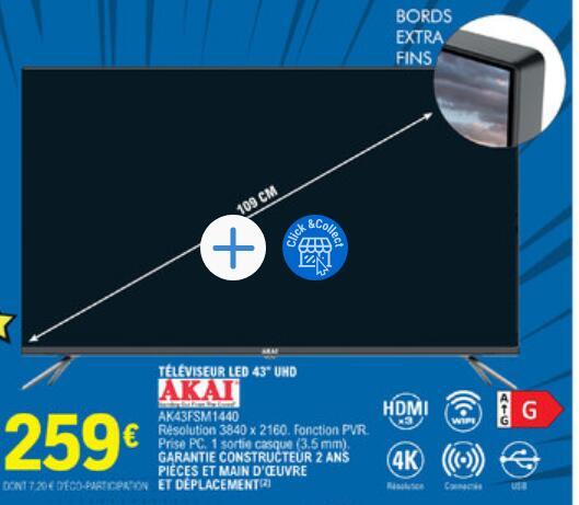 """TV LED 43"""" Akai AK43FSM1440 - 4K UHD, Smart TV (dans une sélection de magasins)"""