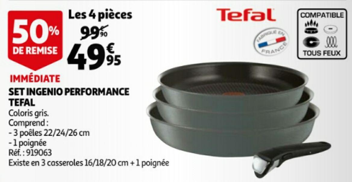 Batterie de cuisine Tefal Ingenio Performance : 3 Poêles 22/24/26 cm (tous feux dont induction) + 1 poignée