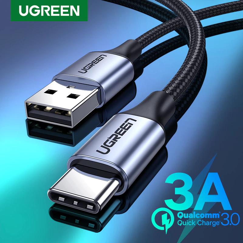 Câble USB type-c Ugreen - 3A, 3m, gris ou argenté
