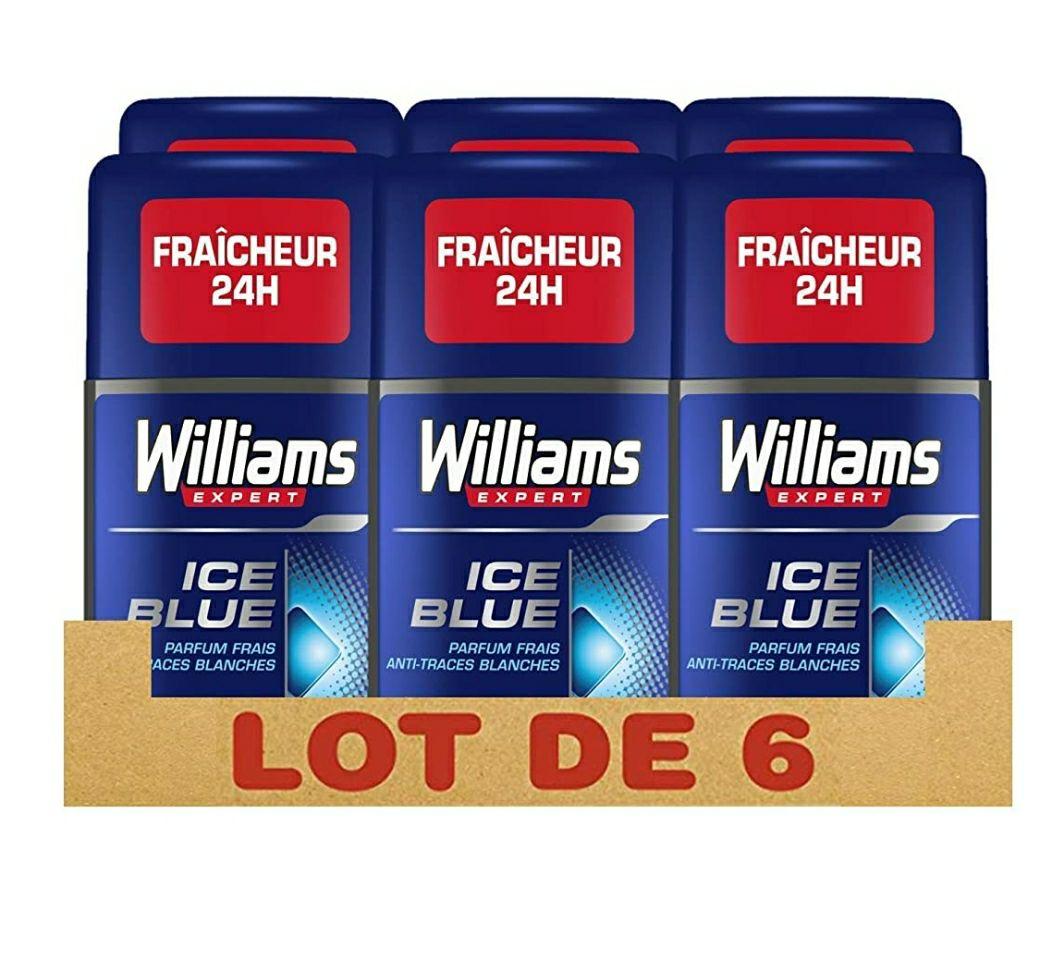 Lot de 6 Déodorants Williams Expert Ice Blue pour Homme