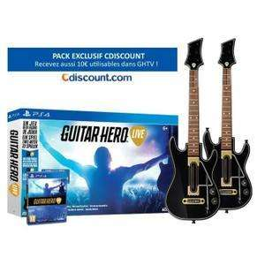 Pack Guitar Hero Live sur PS4 + 2 Guitares + 10€ utilisable dans GHTV