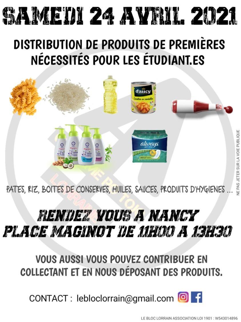 Distribution colis aux étudiants - Nancy (54)