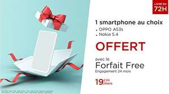 Smartphone OPPO A53s (128 Go) ou Nokia 5.4 (128 Go) + Forfait Free Mobile pendant 24 mois (Appels/SMS/MMS Illimités + 150 Go DATA)