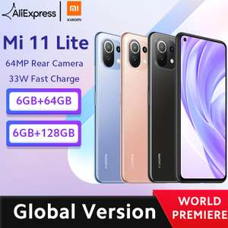 Smartphone Xiaomi Mi 11 Lite - 128 Go, 6 Go de RAM, 4G, Version globale, Snapdragon 732G Octa Core, NFC