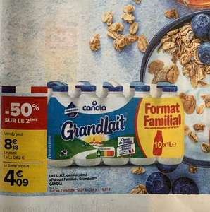 Lot de 2 packs de 10 bouteilles de lait demi-écrémé Candia GrandLait - 20x1 L