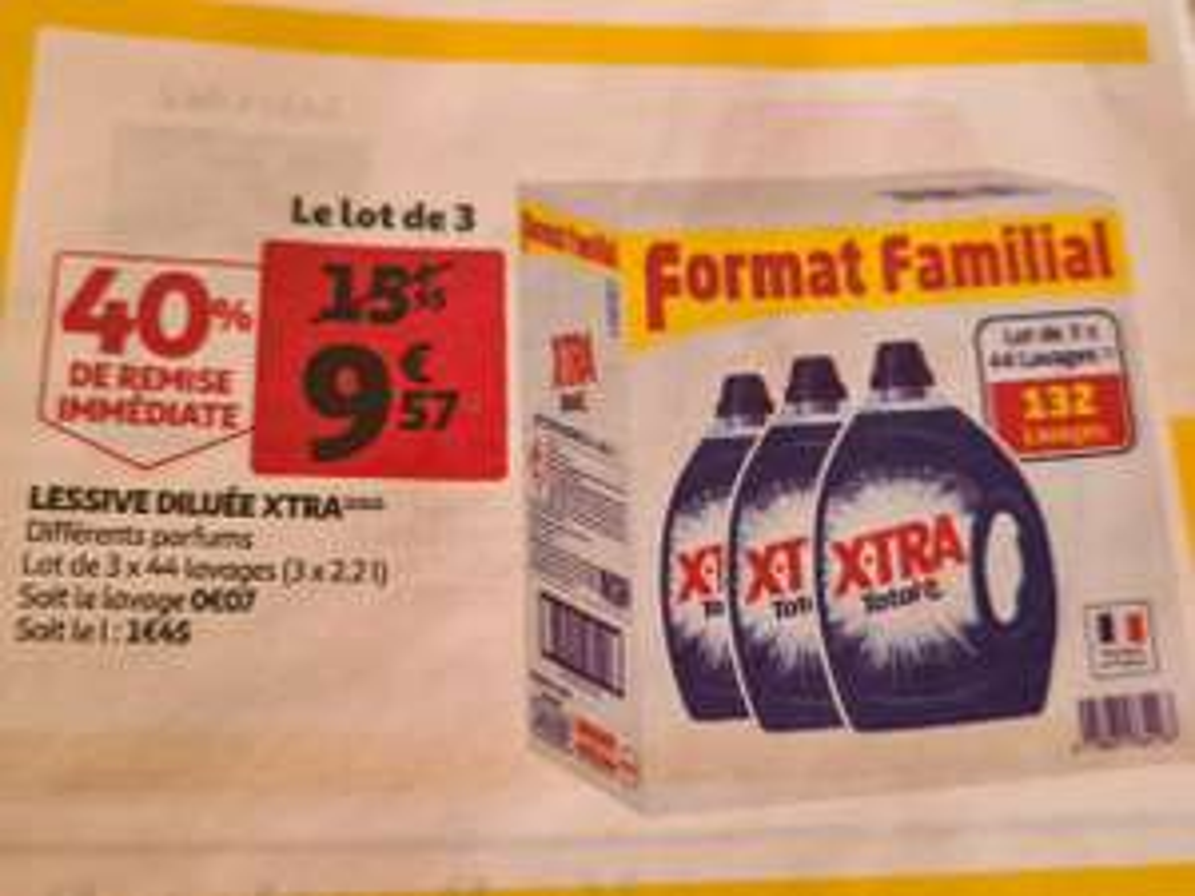 Lot de 3 bidons de lessive Xtra (3x 44 Lavages)