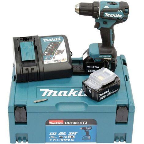 Pack Makita DDF485RTJ : Perceuse visseuse DDF 485 (18V) + 2 batteries BL1850B (18V, 5.0Ah) + 1 chargeur + Makpac - Saint-Pierre-du-Mont (40)