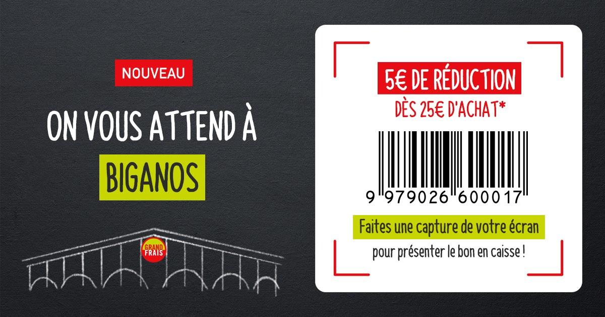 5€ de réduction dès 25€ d'achat - Biganos (33)