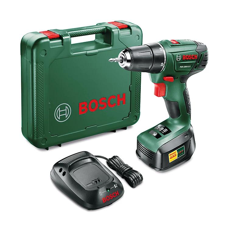 Coffret perceuse-visseuse sans-fil Bosch PSR 1800 LI-2 (18 V) - avec batterie 1.5 Ah + chargeur (via ODR de 20€)