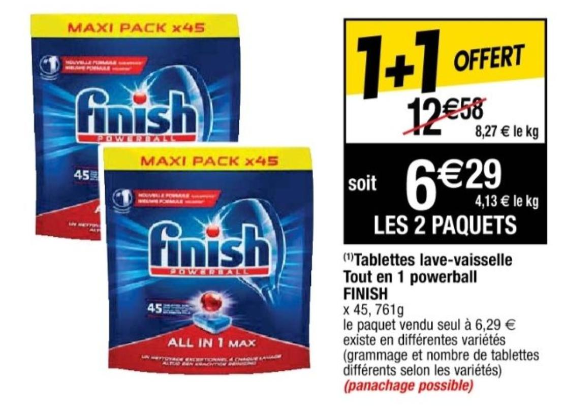 Lot de 2 paquets de 45 tablettes pour lave-vaisselle Finish Powerball