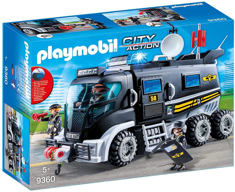 Jouet Playmobil Camion Policiers d'Élite avec Sirène et Gyrophare - 9360
