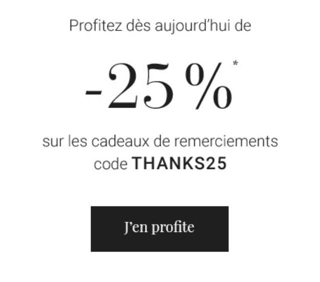 25% de réduction immédiate sur les remerciements (cottonbird.fr)