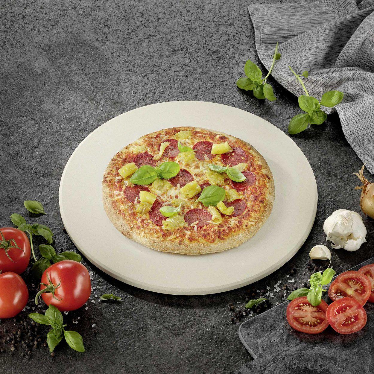 Pierre à pizza pour four ou barbecue ronde (38 cm de diamètre) ou rectangulaire (38x30 cm)