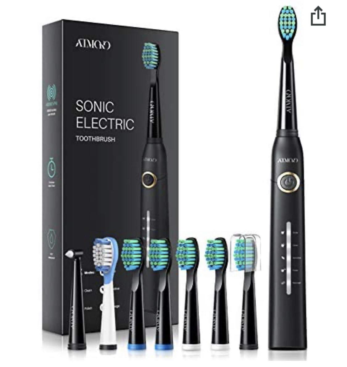 Brosse à dents électrique Atmoko HP126A (40000 Vibrations/min, 5 Modes, IPX7) + 8 Têtes (Vendeur tiers)