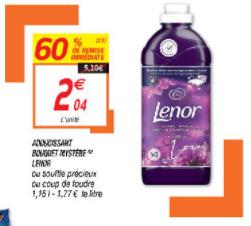 Sélection d'articles en promotion - Ex: Bouteille d'assouplissant liquide Lenor - 1.15 L, plusieurs variétés (via BDR 2€)