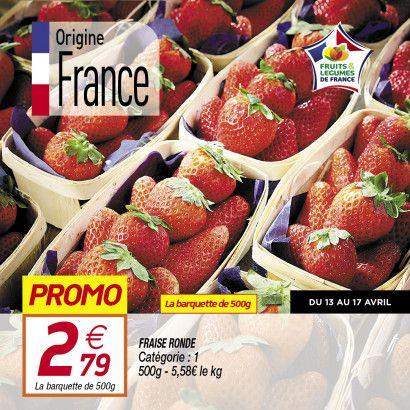 Barquette de fraises rondes (Catégorie 1, Origine France) - 500g